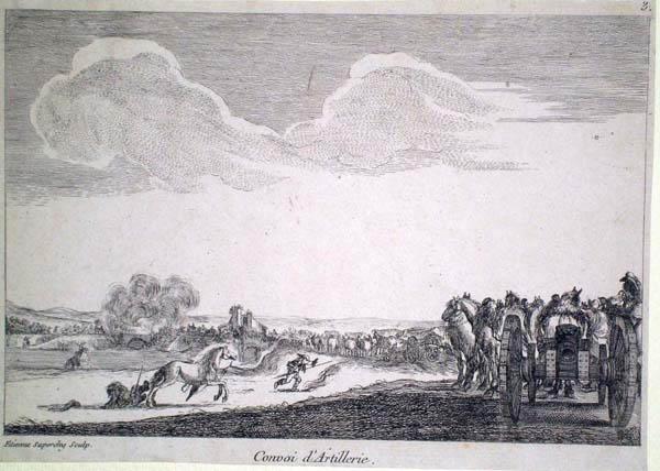 Stefano SUPERCHI (Parma, 1756 – 1788) – CONVOI D'ERTILLERIE da: Della Bella
