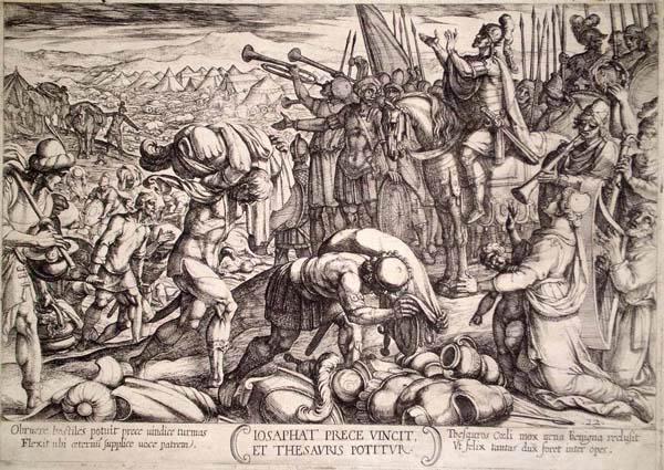 Antonio TEMPESTA (Firenze, 1555 – 1630) – IOSAPHAT RINGRAZIA DIO PER LA VITTORIA