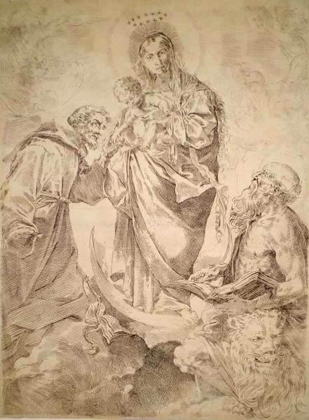Flaminio TORRI (Bologna, 1620 – 1661) – LA VERGINE TRA SAN GEROLAMO E SAN FRANCESCO da: L. Carracci