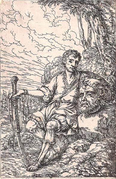 Jonas UMBACH (Baviera, circa 1642 – 1693) – DAVIDE CON LA TESTA DI GOLIA