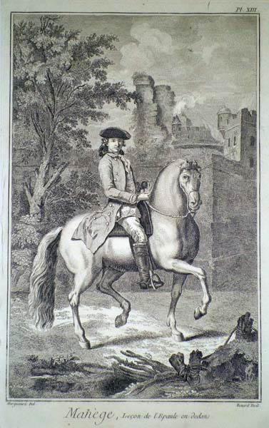 Robert BENARD (Francia, 1734 – 1777) – MANEGE, LECON DE L'EPAULEEN DEDANS da Harguiniez (1762)