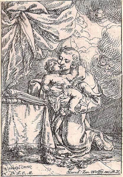 Jonas UMBACH (Baviera, circa 1642 – 1693) – GESÙ IN BRACCIO A SAN GIUSEPPE