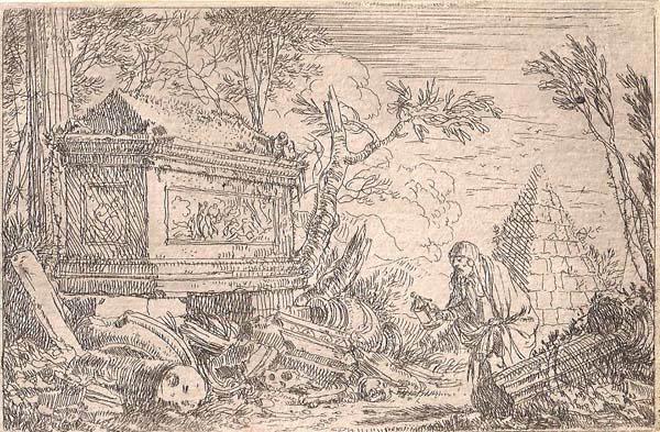 Jonas UMBACH (Baviera, circa 1642 – 1693) – DIOGENE TRA LE ROVINE