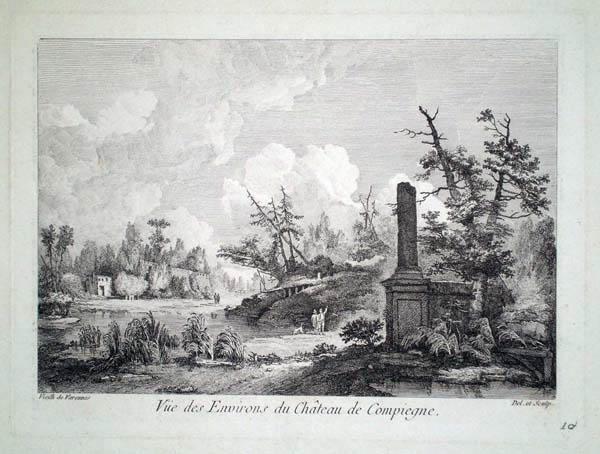VIEILH-VARENNE (Francia, attivo fine XVIII secolo) – VUE DES ENVIRONS DU CHATEAU DE COMPIEGNE