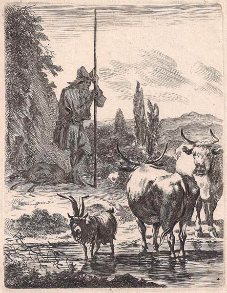Jan VISSCHER (Olanda, 1633 – dopo il 1692) – PASTORE CON ARMENTI da N. Berchem (1679)