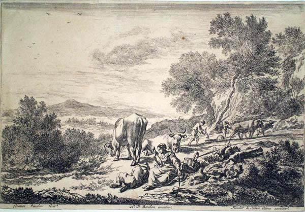 Jan VISSCHER (Olanda, 1633 – dopo il 1692) – FILATRICE CON PASTORE ADDORMENTATO da Berchem