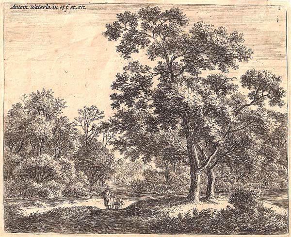 Antoni WATERLOO (Olanda, 1618 – 1662) – DUE VIANDANTI NEL BOSCO