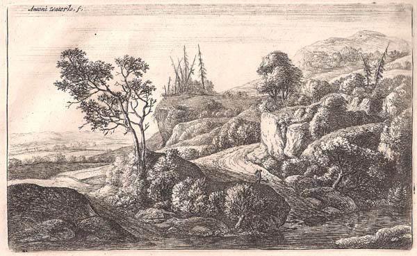 Antoni WATERLOO (Olanda, 1618 – 1662) – I DUE SENTIERI AL RUSCELLO