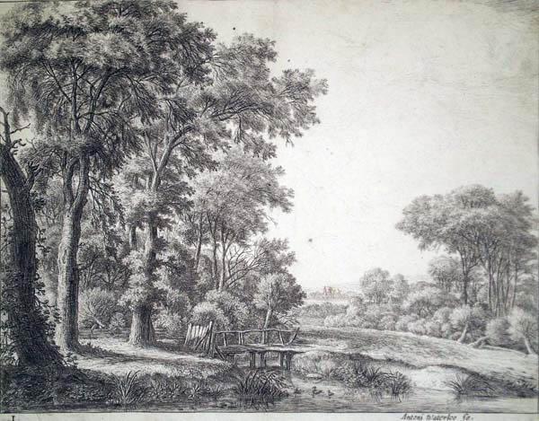 Antoni WATERLOO (Olanda, 1618 – 1662) – IL PICCOLO PONTE DI LEGNO AL LIMITARE DELLA FORESTA