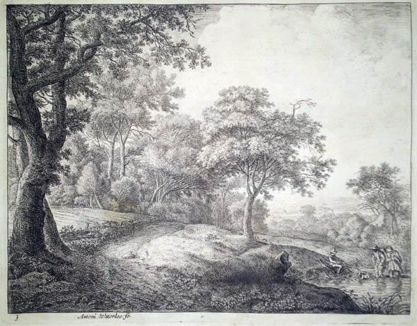 Antoni WATERLOO (Olanda, 1618 – 1662) – L'UOMO E LA DONNA ATTRAVERSANO IL RUSCELLO
