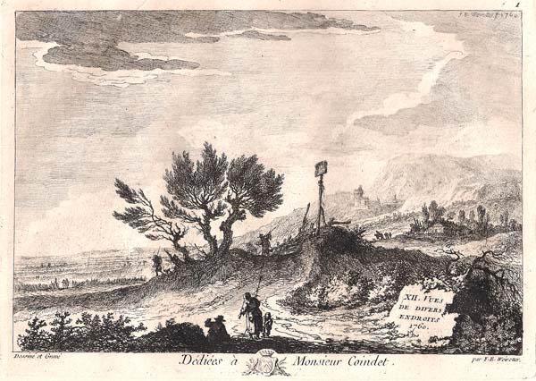 Franz Edmund WEIROTTER (Austria, 1733 – 1771) – PAESAGGIO CON TRE SALICI