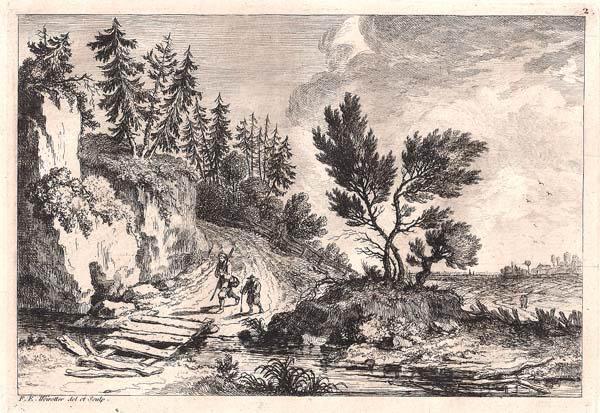 Franz Edmund WEIROTTER (Austria, 1733 – 1771) – PADRE E FIGLIO A PASSEGGIO