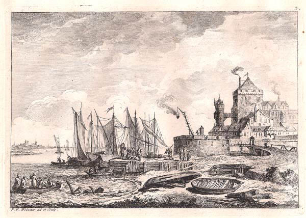 Franz Edmund WEIROTTER (Austria, 1733 – 1771) – INGRESSO AL PORTO CON GRANDE CASTELLO