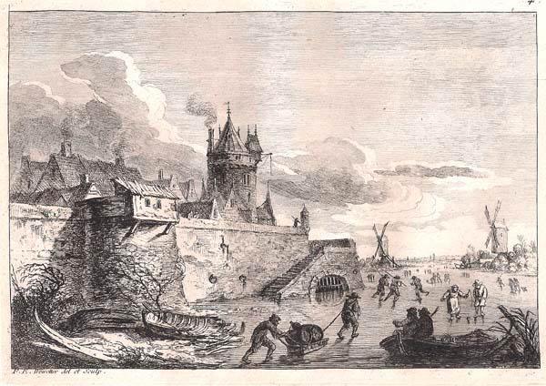 Franz Edmund WEIROTTER (Austria, 1733 – 1771) – PATTINATORI SUL FIUME GHIACCIATO ALLE PORTE DELLA CITTÀ