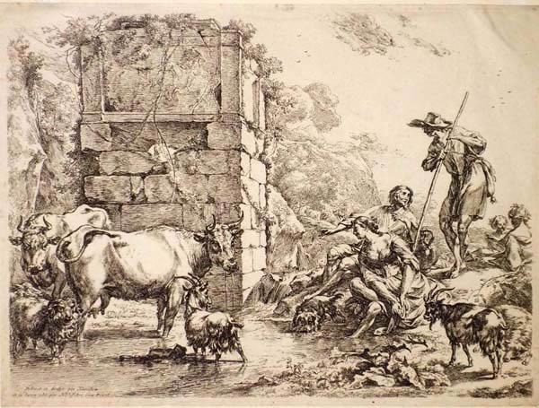 Claes BERCHEM (Olanda, 1620 – 1683) – ANIMALI E PASTORI VICINO AD UN FIUME