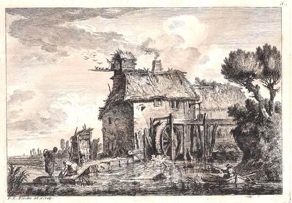 Franz Edmund WEIROTTER (Austria, 1733 – 1771) – LAVANDAIE AL MULINO (1760)