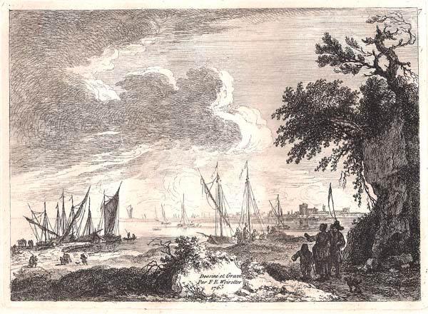 Franz Edmund WEIROTTER (Austria, 1733 – 1771) – INSENATURA CON BARCHE A VELA