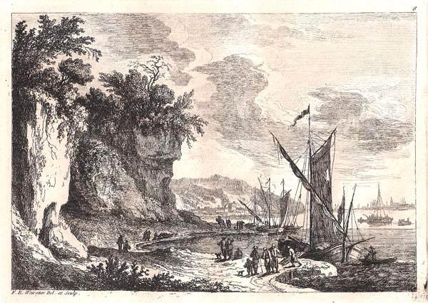 Franz Edmund WEIROTTER (Austria, 1733 – 1771) – STRADA SULLA RIVA ROCCIOSA SUPERIORE