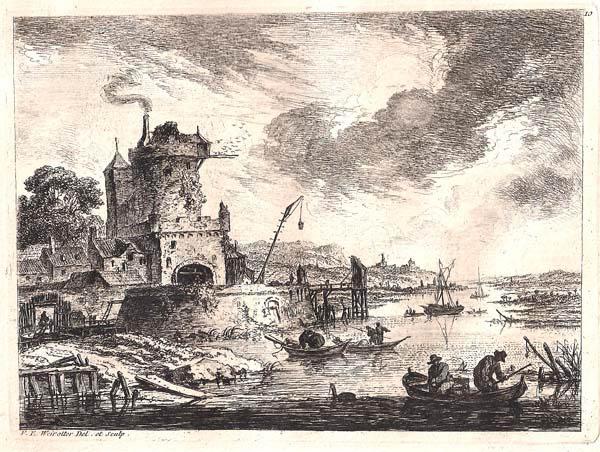 Franz Edmund WEIROTTER (Austria, 1733 – 1771) – CASTELLO CON PICCIONAIA