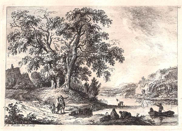 Franz Edmund WEIROTTER (Austria, 1733 – 1771) – TRE GRANDI QUERCE IN RIVA AL LAGO