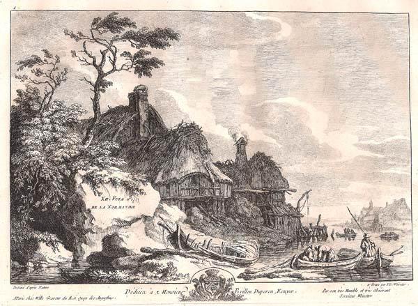 Franz Edmund WEIROTTER (Austria, 1733 – 1771) – GRANDE FATTORIA SULLA RIVA DEL FIUME