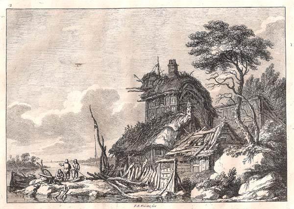 Franz Edmund WEIROTTER (Austria, 1733 – 1771) – TRE UOMINI IN BARCA DAVANTI AD UN GRANDE CASOLARE