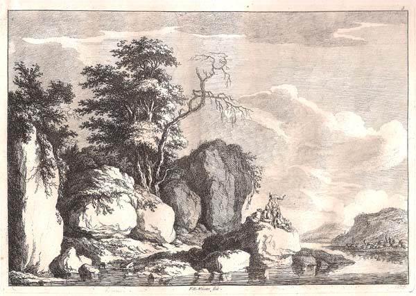 Franz Edmund WEIROTTER (Austria, 1733 – 1771) – PAESAGGIO FLUVIALE CON QUATTRO UOMINI SU UNA ROCCIA