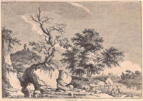 Franz Edmund WEIROTTER (Austria, 1733 – 1771) – PAESAGGIO FLUVIALE CON ALBERO SULLA ROCCIA