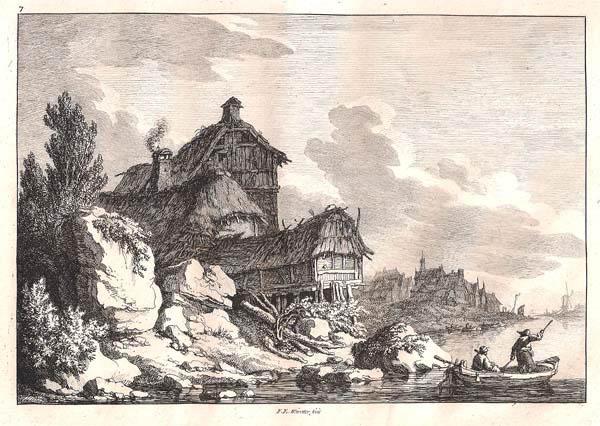 Franz Edmund WEIROTTER (Austria, 1733 – 1771) – CITTÀ SUL FIUME CON TRE UOMINI SULLA BARCA IN PRIMO PIANO