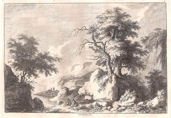 Franz Edmund WEIROTTER (Austria, 1733 – 1771) – PAESAGGIO FLUVIALE CON DUE UOMINI SEDUTI IN PRIMO PIANO