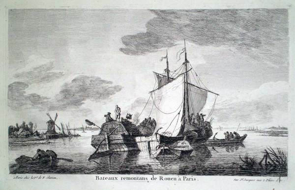 Franz Edmund WEIROTTER (Austria, 1733 – 1771) – BATTELLI RISALGONO IL FIUME DA ROUEN A PARIGI