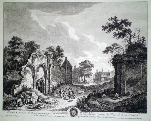 Franz Edmund WEIROTTER (Austria, 1733 – 1771) – LE ROVINE DELL'ABBAZIA DI SAINT MAUR da J. G. Wille (1760 circa)
