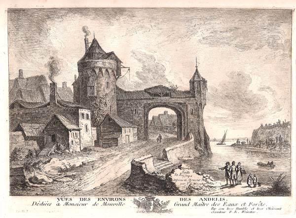 Franz Edmund WEIROTTER (Austria, 1733 – 1771) – PORTA DELLA CITTÀ SULLA RIVA DEL FIUME
