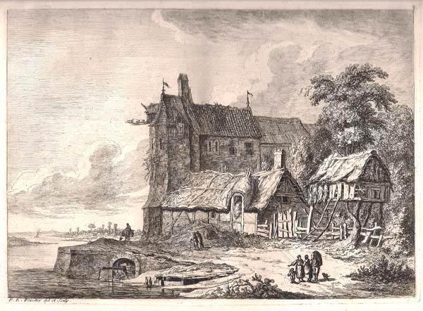Franz Edmund WEIROTTER (Austria, 1733 – 1771) – ALTO EDIFICIO CON DUE DEPOSITI PER ATTREZZI AGRICOLI