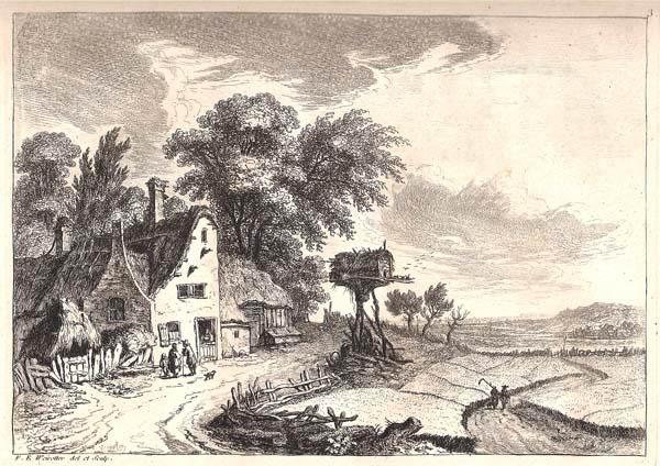 Franz Edmund WEIROTTER (Austria, 1733 – 1771) – CASA DI CAMPAGNA CON ANNESSO FIENILE