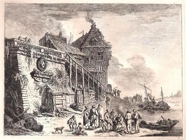 Franz Edmund WEIROTTER (Austria, 1733 – 1771) – GRUPPO DI PERSONE CHE DISCUTE DAVANTI ALLE MURA DELLA CITTÀ IN RIVA ALLA SENNA
