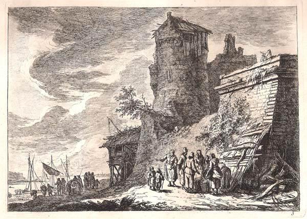 Franz Edmund WEIROTTER (Austria, 1733 – 1771) – FORTEZZA DELLA CITTÀ CON GRANDE TORRE CIRCOLARE SULLA RIVA DELLA SENNA