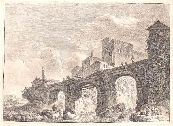 Franz Edmund WEIROTTER (Austria, 1733 – 1771) – VILLA ADRIANI. PONTE IN PIETRA A TRE ARCATE SUL RUSCELLO
