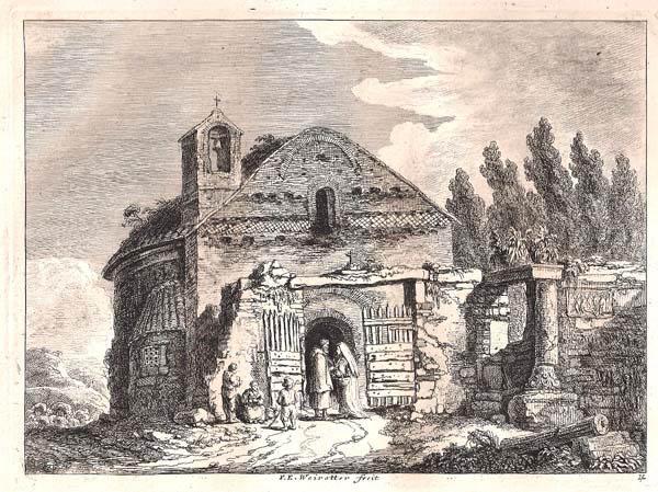 Franz Edmund WEIROTTER (Austria, 1733 – 1771) – VECCHIO TEMPIO A TIVOLI