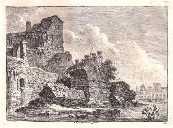 Franz Edmund WEIROTTER (Austria, 1733 – 1771) – RESTI DEL PONTE SUBLICIO