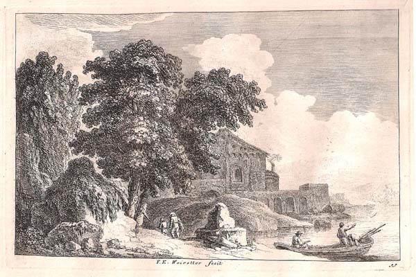 Franz Edmund WEIROTTER  (Austria, 1733 – 1771) – SUL TEVERE FUORI ROMA. GRANDE EDIFICIO SULLA SPONDA