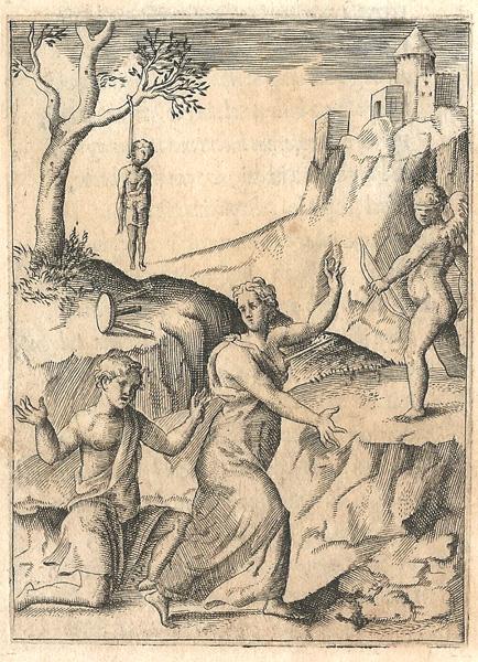 Giulio BONASONE (Bologna, circa 1498 – 1580) – RAGAZZA CHE RIFIUTA LE ATTENZIONI DI UN INNAMORATO