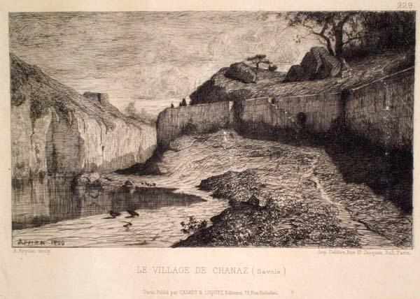 Adolphe APPIAN (Francia, 1818 – 1898) – LE VILLAGE DE CHANAZ. SAVOIE (1866)