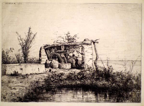 Adolphe APPIAN (Francia, 1818 – 1898) – UNE NORIA À BORDIQUIER