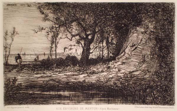 Adolphe APPIAN (Francia, 1818 – 1898) – AUX ENVIRONS DE MENTON