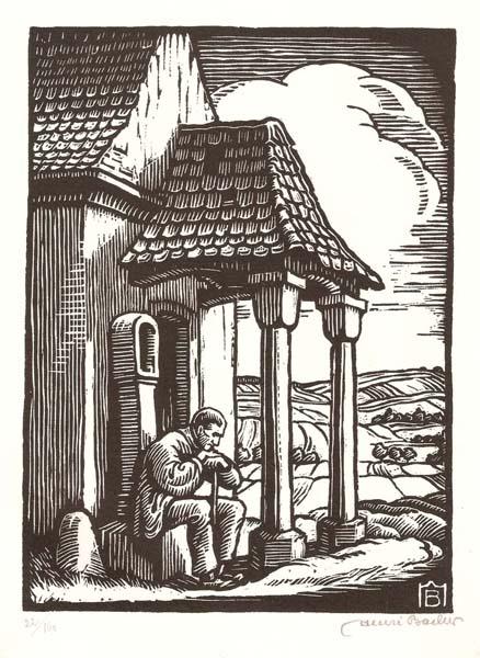Henri BACHER (Francia, 1890 – 1934) – CHAPELLE DANS UN PAYSAGE ALSACIEN
