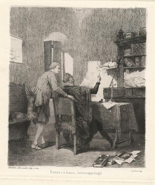 Alessandro BALDUINO (Torino, 1849 – 1891) – RENZO ED IL DOTTOR AZZECCAGARBUGLI