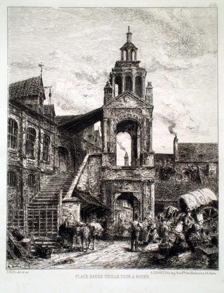 Auguste BALLIN (Francia, 1842 – ?) – PLACE BASSE VIEILLE TOUR À ROUEN