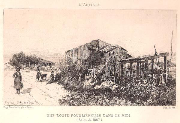 Eugène BAUDOIN (Francia, 1842 – 1893) – UNE ROUTE POUSSIEREUSE DANS LE MIDI