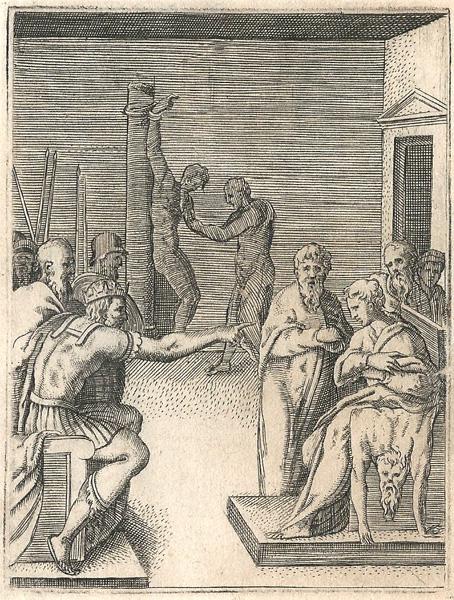 Giulio BONASONE (Bologna, circa 1498 – 1580) – CAMBISE OBBLIGA UN GIOVANE A SEDERSI SULLA PELLE DEL PADRE